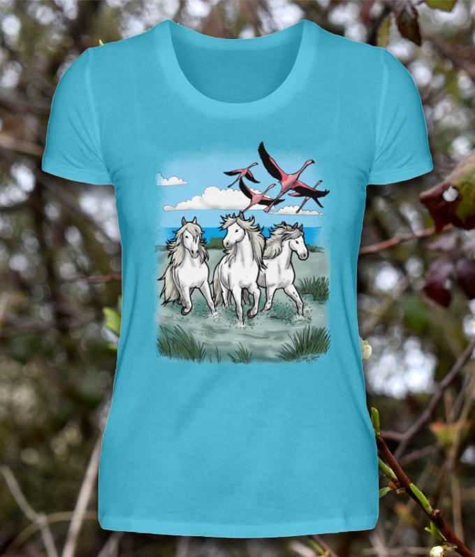 Troupeau de chevaux sauvages Camarguais